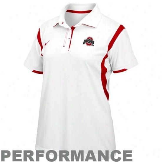 Buckeye Clothing: Nike Buckeye Ladies White Double Reverse Dri-fit Performance Polo