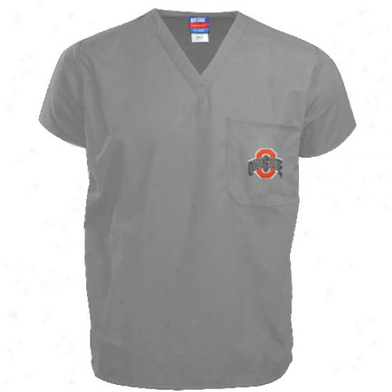 Buckeyes Shirts : Buckeyes Grey Scrub Top