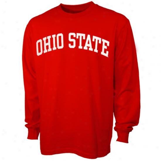 Bukceyes Shirts : Buckeyes Scarlet Vertical Arch Long Sleeve Shirts