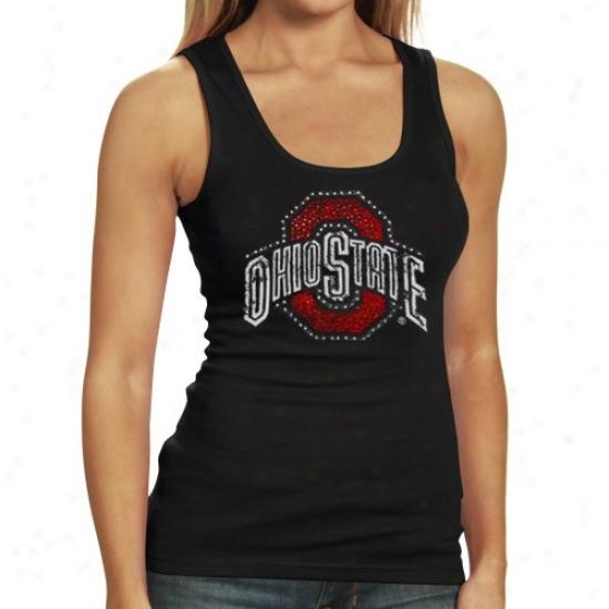 Buckeyes Tshirt : Buckeyes Ladies Black Cassie Tank Top