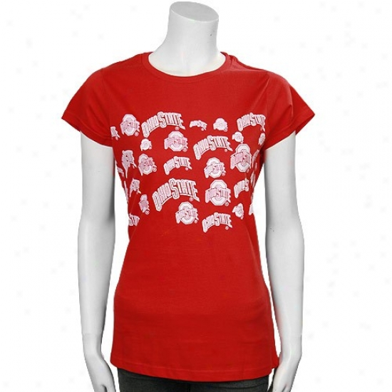 Buckeyes Tshirts : Buckeyes Scarlet Ladies All-over Graphic Logo Tshirts