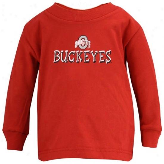 Buckeyes Tshirts : Buckeyes Scarlet Toddler Team Logo Long Sleeve Tshirts
