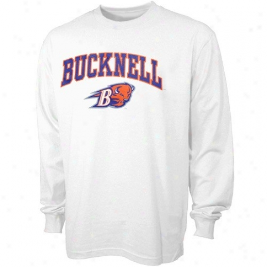 Bucknell Bison Attire: BucknellB ison White Bare Essentials Long-winded Sleeve T-shirg