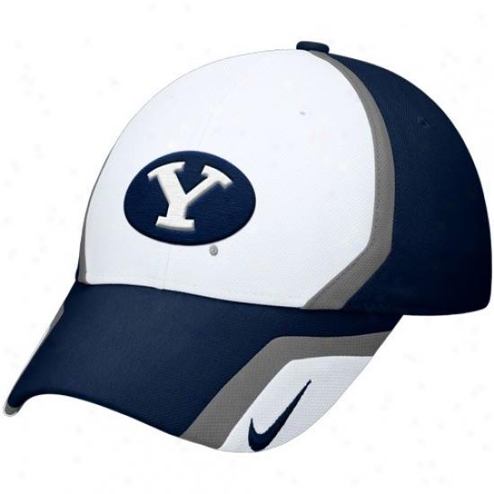 Byu Cougars Gear: Nike Brigham Young Cougars Wite-navy Blue Sideline Swoosh Flex Fit Hat