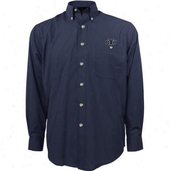 Byu Cougars Shirts : Antigua Brigham Young Cougars Navy Pedantic  Matrix Long Sleeve Dress Shirts
