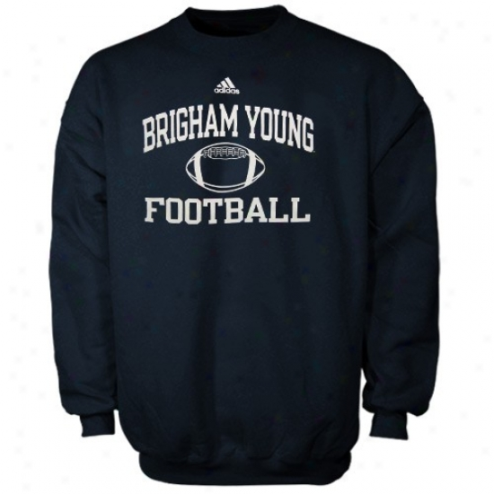 Byu Cougars Sweatshirt : Acidas Brigham Young Cougars Navy Blue Collegiate Crew Sweatshirt