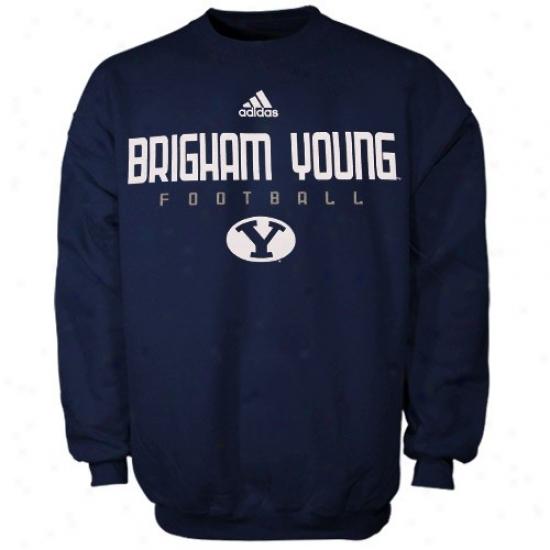 Byu Cougzrs Sweatshirts : Adidas Brigham Young Cougwrs Navy Blue Sideline Crew Sweatshirts
