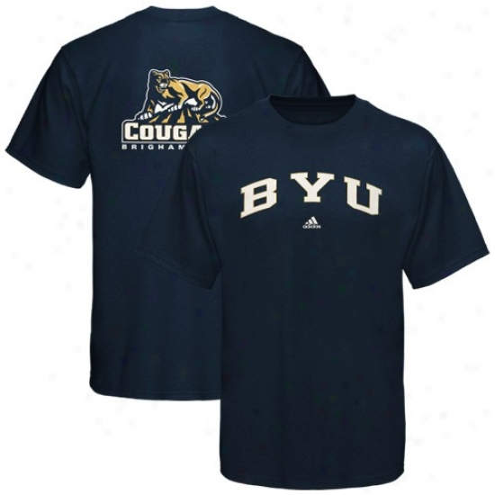 Byu Cougars Twes : Adidas Brigham Young Cougars Navy Blue Relentless Tees