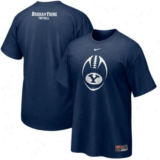 Byu Cougars Tshirts : Nike Brigham Young Cougars Navy Blue 2010 Team Fontanel Tshirts