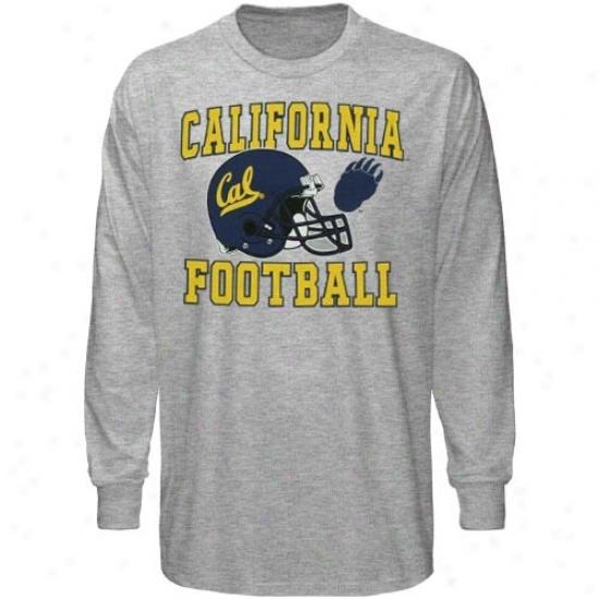 Cal Bears T-shirt : Cal Golden Bears Youth Ash Football Booster A ~ time Sleeve T-shirt