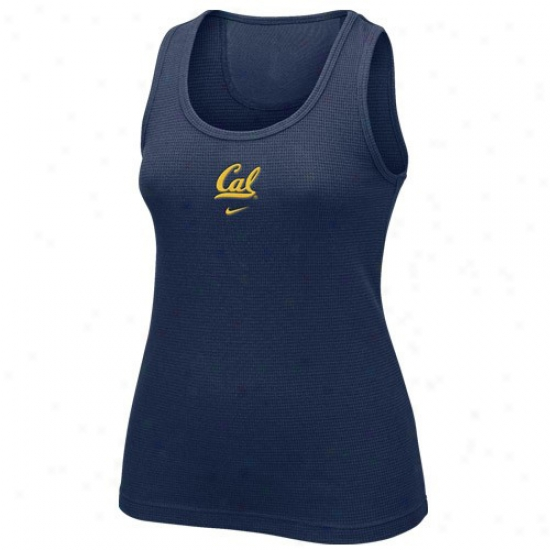 Cal Bears Tee : Nike Cal Golden Bears Ladies Navy Livid Waffle Tank Top