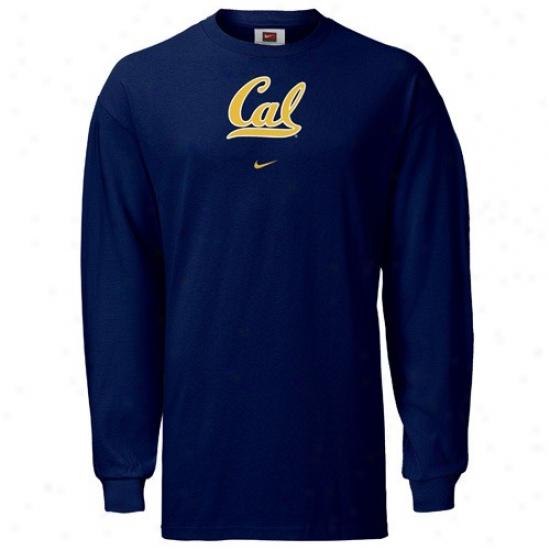 Cal Bears Tee : Nike Cal Golden Bears Navy Blue Classic College Long Sleeve Tee