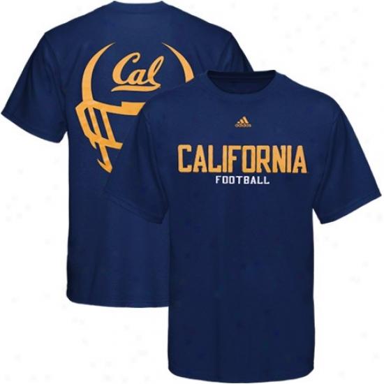 Cal Bears Tees : Adidas Cal Golden Bears Navy Blue Helmet Mask Basic Tees