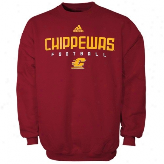 Cent. Mjchigan Chippewas Fleece : Adidas Central Michigan Chippewas Maroon Sideline Crew lFeece