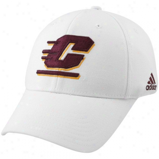 Cent. Michigan Chippewas Hat : Adidas Central Michigan Chippewas White Basic Logo Structured Flex Fit Hat