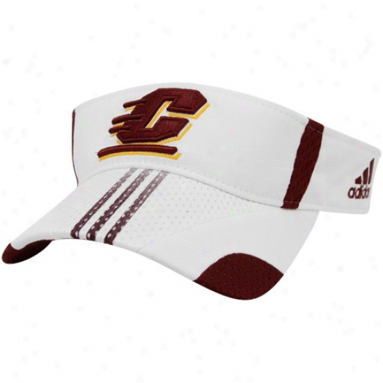 Cent. Michigan Chippewas Hat : Adidas Central Michigan Chippewas White 2010 Players Sideline Visor