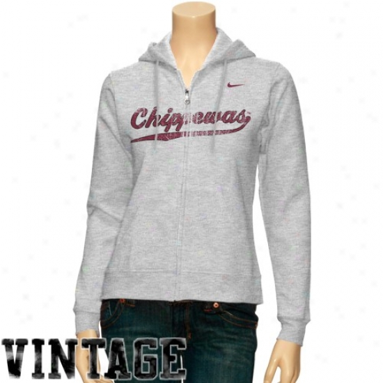 Cent. Michigan Chippewas Hoodys : Nike Central Michigan Chippewas Ladies Ash Classic Full Zip Vintage Hoodys