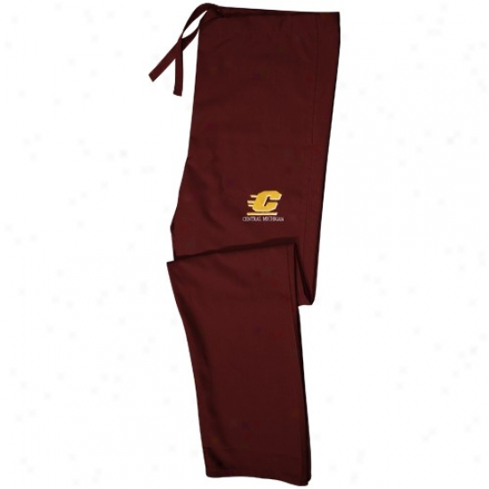 Central Michigan Chippewas Maroon Scrub Pants