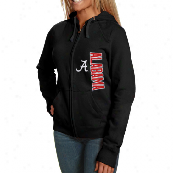 Champion Alabama Crimson Tide Ladies Black Athletic Logo Full Zip Hoody Jerkin
