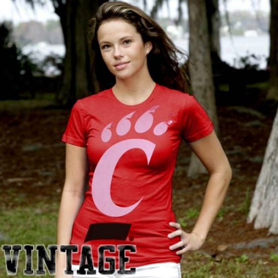Cincinnat iBearcat Apparel: My U Cincinnati Bearcat Ladies Red Gigantor Vintage T-shirt