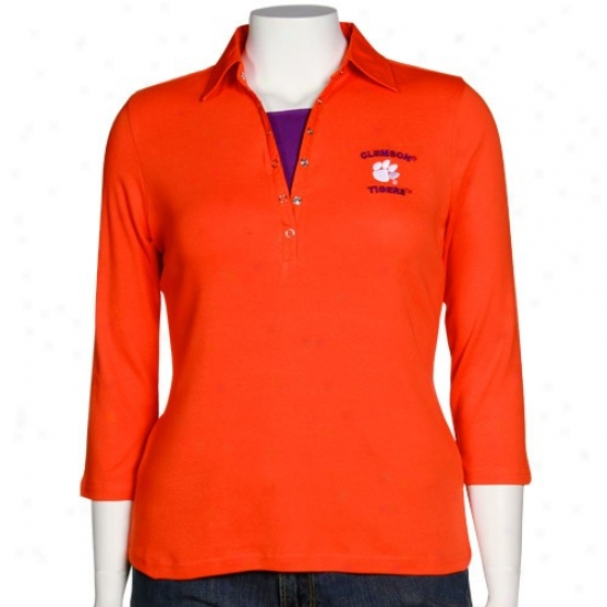 Clemson Golf Shirt : Clemson Ladies Orange Two-fer Three Quarter Length Sleeve Golf Shirt