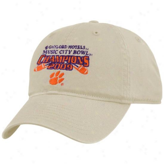 Clemson Tiger Gear: Clemson Tiger Khaki 2009 Music City Bowl Champions Adjustable Hat