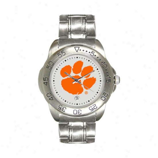 Clemson Tiger Watches : Clemson Tiger Sport Watches W/stainless Steel Bqnd