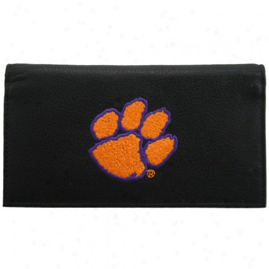 Clemson Tigers Negro Leather Checkbook Cover