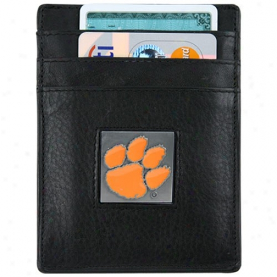 Clemson Tigers Black Leather Money Clip And Business Card Holder