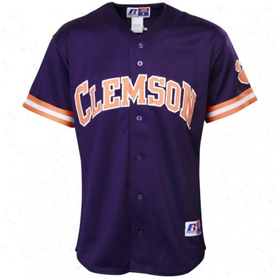 Clemson Tigers Jersey : Russell Cpemson Tigers Purple Replica Baseball Jersey