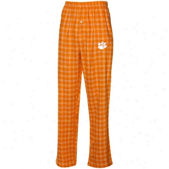 Clemson Tigers Orange-whitr Plaid Match-up Flannel Pajama Pants