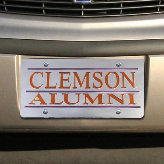 Clemson Tigers Silver Mirrored Alumni Permit Plate