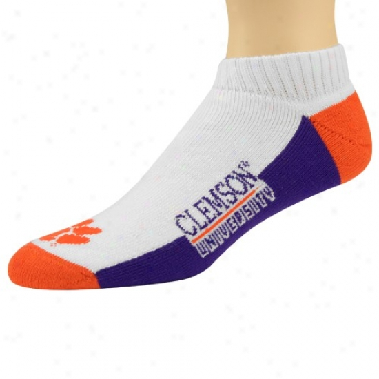 Clemson Tigers Tri-color Ankpe Socks