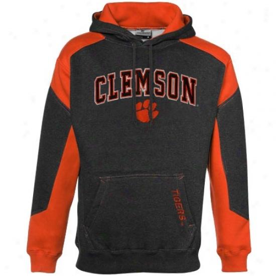 Clemson University Hoodie : Clemson University Charcoal-orange Challenger Heathered Hoodie