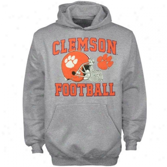 Clemson University Hoodies : Clemson University Youth Ash Football Booster Hoodies
