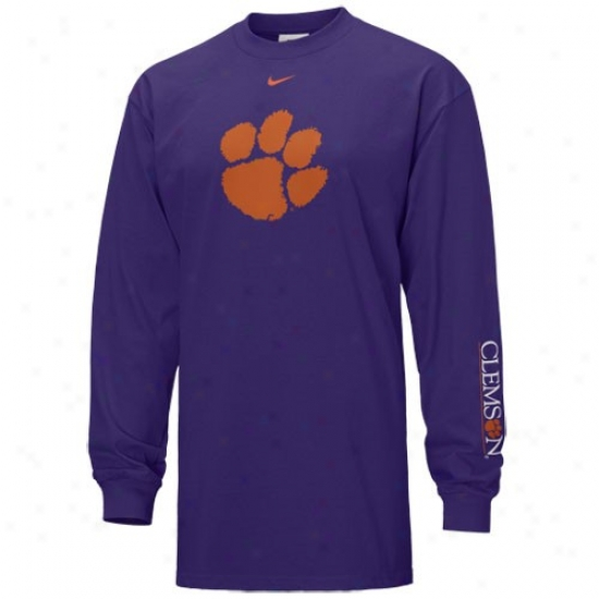 Clemson University T Shirt : Nike Clemson University Purple Classic Logo Extended Sleeve T Shirt