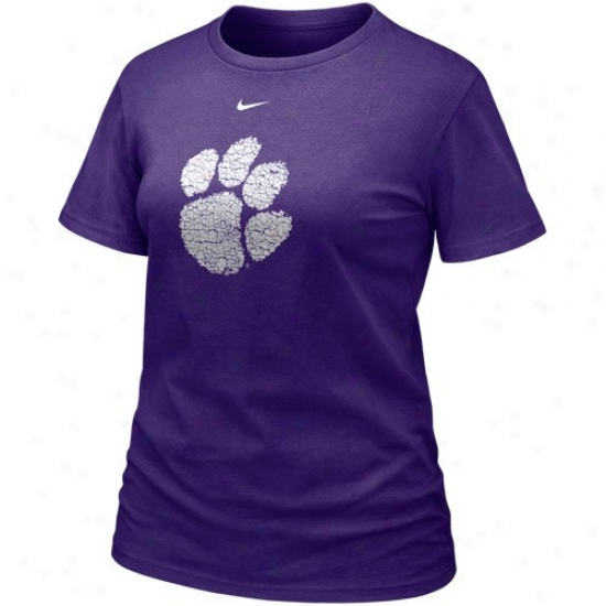 Clemson University T-shirt : Nike Clemson University Ladies Purple Frackle Blended T-shirt
