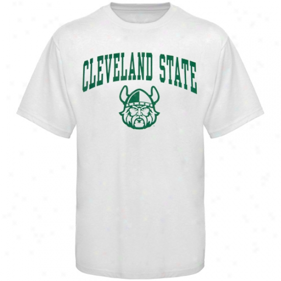 Cleveland State Vikings Attire: Cleveland State Vikings White Bare Essentials T-shirt