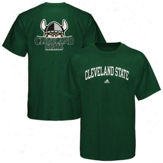 Cleveland State Vikings Tees : Adidas Cleveland State Vikings Green Relentless Tees