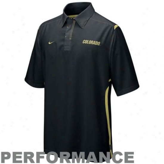 Colorado Buffaloes Polo : Nike Colorado Buffaloes Black Preseason Dri-fit Performance Polo