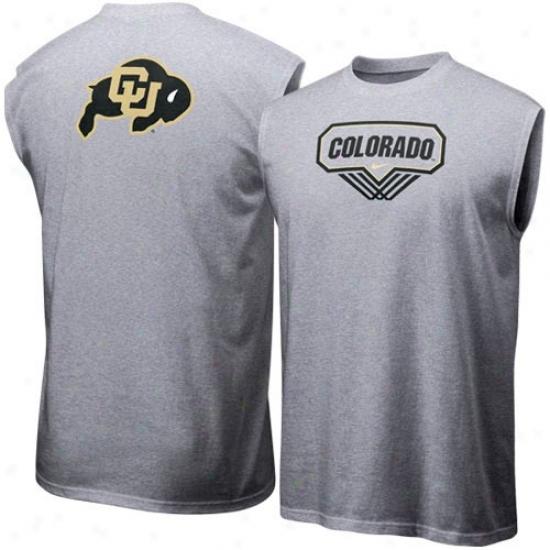 Colorado Buffaloes Tshirts : Nike Colorado Buffaloes Ash Basketball Sleevsless Tshirts