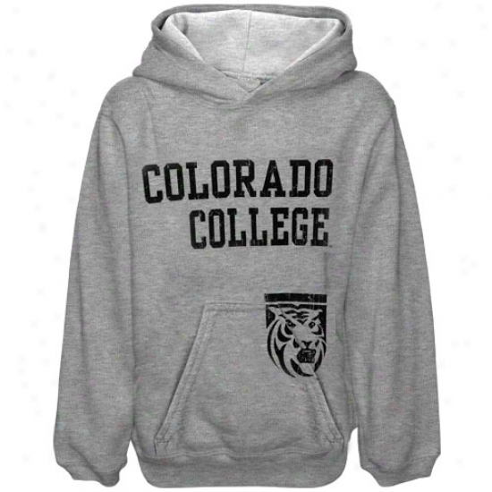 Colorado College Tigers Hoody : oClorado College Tigers Youth Ash Stacked Hoody