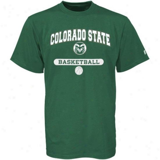 Colordao State Rams T-shirt : Russell Colorado State Rams Green Basketball T-shirt
