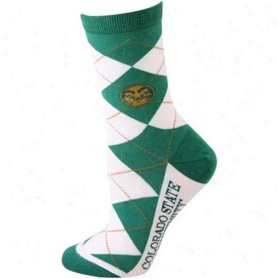 Colorado State Rams White-green Argyle Socks