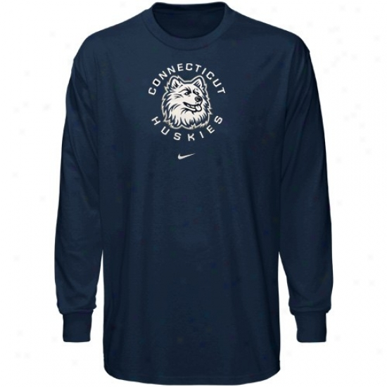 Connecticut Huskies Apparel: Nike Connecticut Huskies (uconn) Navy Blue Basic Logo Long Sleeve T-shirt