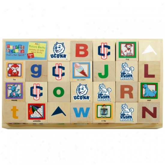 Connecticut Huskies (uconn) Wooden Mascot Alphabet Blocks