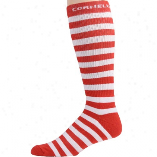 Cornell Big Red Carnelian-white Striped Tall Socks
