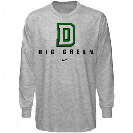 Datmouth Big Green Tshirts : Nike Dartmouth Big Geen Ash Basic Logo Long Sleeve Tshirts