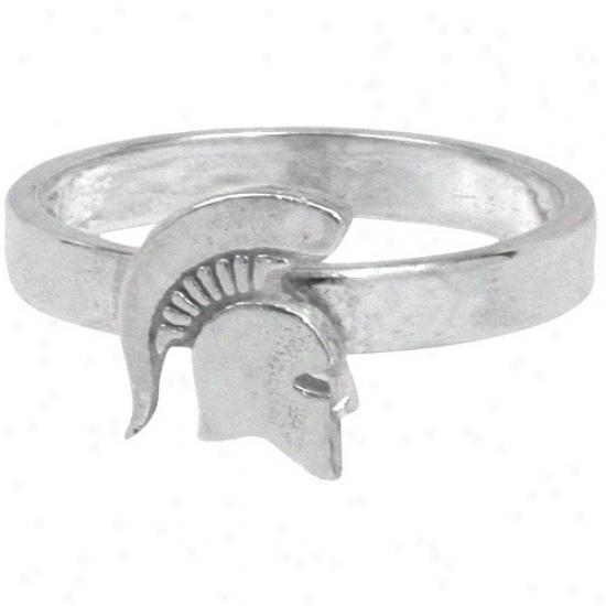 Dayna U Michigan State Spartans Sterling Silver Slight Logo Ring