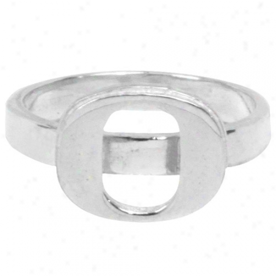 Dayna U Oregon Ducks Sterling Silver Slim Logo Ring